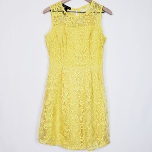 INC Yellow Embroidered Lace Floral Dress sz 6